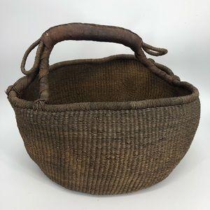 Big vintage leather handle basket